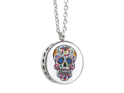 Aromatherapy Perfume Fragrance Essential Oil Diffuser Stainless Steel Epoxy Pendant Necklace for Womens Skull Head