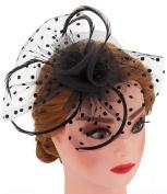 Big Flower Mesh Bow Feather Women Fascinator Dot Veil Hair Clip Wedding