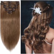 Standard Weft 46cm 100g Clip in 100% Real Remy Human Hair Extensions 8 Pieces 18 Clips #6 Light Brown