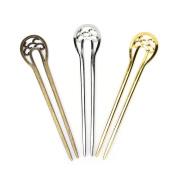 3 Pcs U Shape Retro Metal Hair Fork Hair Pin Hair Pick Stick Square Hair Clip Hair by HONGTIAN