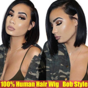 S-noilite 100% Brazilian Remy Human Hair Wig Glueless Lace Front Bob Wigs Medium Short Straight Pre Plucked Natural Hairline with Baby Hair for Women 130% Density