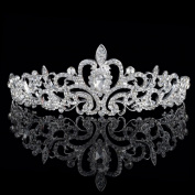 HUELE Crystal Rhinestones Wedding Bridal Tiara Headband with Comb Shining
