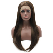 Long Straight Brown Mix Natural Synthetic Lace Front Wig