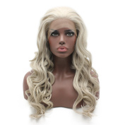 Long Wavy Grey Blonde Half Hand Tied Swiss Lace Front Wig Synthetic