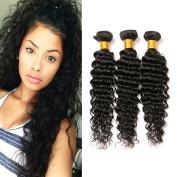 100% Unprocessed Virgin Brazilian Hair Deep Wave 3 Bundles Human Hair Extensions for African American Women Natural Colour 14 14 36cm