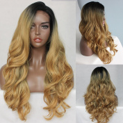 Oxeely Natural Blonde Ombre Wave Hair Wig for Women Dark Root Blonde Synthetic Lace Front Wig