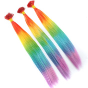 BESTLEE Straight I Tip Keratin Fusion Hair Extensions Colourful Rainbow Synthetic Hair Piece 10pcs