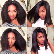 Fushen Hair Italian Kinky Straight Lace Front Wigs Natural Looking Short Human Hair Wigs for Black Women Kinky Straight Brazilian Remy Hair Full Lace Wigs