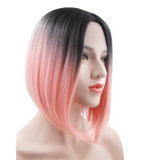 eNilecor Pink Bob Wigs,Short Straight Wig Ombre Wig Heat Resistant Synthetic Cosplay Daily Party Wig for Women with Wig Cap