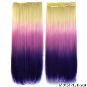 CXYP 60cm Ombre Straight Synthetic Clip In Hair Extensions One Piece with 5 Clips