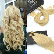Sunny 60cm Best Quality Remy I-tip Fusion Straight Human Hair Extensions Salon Style #613 Bleach Blonde Pre Bonded 1g Per Strand 50g/pack