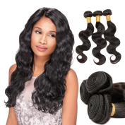 Zing Silky Hair Brazilian Body Wave Hair 100% Unprocessed Remy Human Hair Extensions 3 Bundles Natural Black Colour