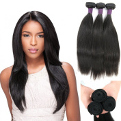 Zing Silky Brazilian Remy Straight Hair 100% Unprocessed Silky Human Hair 3 Bundles Natural Black Colour