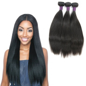 Zing Silky Hair 3 Bundles Mix Length 7A Brazilian Virgin Hair Silky Straight Hair Weave Natural Black Colour