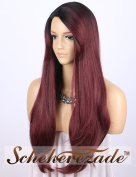 "Scheherezade Burgundy Ombre Wig M0230 - Charming Long Natural Straight Synthetic Wigs for Women 3"" Deep Parting 2 Tone Black to 99j Wine Wig with Bangs 60cm"