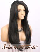 "Scheherezade Long Black Wigs for Women - 3"" Deep Side Parting Natural Straight Machine Made Synthetic Wig with Bangs Soft Fibre #1B BLack Hair Wig 60cm"