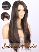 Scheherezade Natural Looking Dark Brown Wig with Bangs Deep Right Side Parting Synthetic Wigs for Women Machine Made Long Straight Wig 60cm