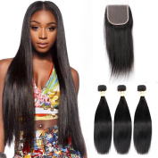 "Goldfinch Hair Malaysian Virgin Straight Hair Weave 3 Bundles with Closure 100% Unprocessed Human Hair Extensions with Lace Closure 30""30""30""weft + 26""closure"