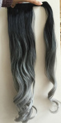 50cm Synthetic Wavy Curly Ombre Wrap Around Ponytail Clip in Hairpieces 95g