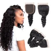 Brazilian Virgin Hair Human Hair Closure Loose Wave Top Lace Closure Part 8-50cm Naturl Black Bleached Knots