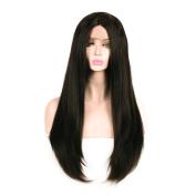 New change 250% density Lace Front Synthetic Hair Wigs Yaki Straight Wig With Baby Hair Hand Tied Cap Heat Resistant Glueless Wig For All Skin Women(60cm Dark Brown)_