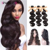 Sparkle Diva 8A Brazilian Body Wave Hair Pre Plucked 360 Lace Frontal Closure (22×4×2) Bleached Knots with 3 Bundles 100grm (+/-5g)/pcs Virgin Baby Weave Hair Extensions 100% Unprocessed