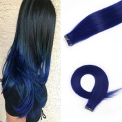 HAIQUAN 20pcs Blue Tape In Highlight Human Hair Extensions 50cm 30g/pack Slilky Straight Seamless Skin Weft Remy Hair