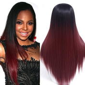 60cm Long Ombre Wig Black Ombre Burgundy Synthetic Wigs For Black Women Long Straight Wigs Women Natural Female Wig