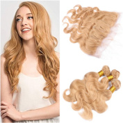Tony Beauty Hair Brazilian #27 Honey Blonde Virgin Human Hair 3Bundles With Frontal 4Pcs Lot Body Wave Strawberry Blonde 13x4 Lace Frontal With Extensions