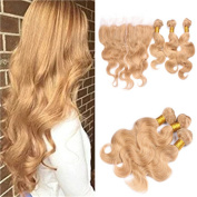 Tony Beauty Hair Honey Blonde Lace Frontal Closure 13x4 With 3Bundles Body Wave Pure #27 Strawberry Blonde Brazilian Human Hair Wefts With Frontal