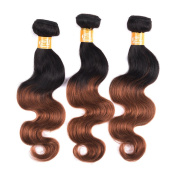 Mixed Length Malaysian Virgin Human Hair 100% Remy Body Wave Style Ombre 1b/30 Colour