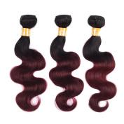 KOAI Ombre 1b/99j Two Tone Colour Unprocessed Brazilian Virgin Human Hair Extensions Weave Body Wave 3 Bundles/300g MIxed Length
