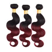 KOAI 3 Bundles/300g Ombre Unprocessed Brazilian Virgin 100% Human Hair Extension Weft Body Wave Two Tone 1b/burg Colour