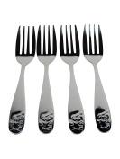 Viva-Haushaltswaren Set of 4 Forks Suitable for Children in Chromed Steel Bear Design