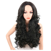 HERME Women Girl Black Long Straight/Curly Wig,Curly Wig