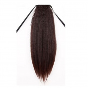 Remeehi One Piece Tie Up Synthetic Hair Ponytail Clip in Hair Extensions Long Yaki Curly Synthetic Hairpiece Dark Brown