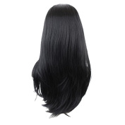 MagiDeal 60cm Women Lady Long Natural Straight Synthetic Hair Wigs with Cap Black