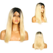 Life Diaries 250%Density Glueless Synthetic Lace Front Wig Fashion Blonde Short Bob Straight 10%Human Hair+90%Heat Resistant Fibre Glueless Lace Front Synthetic Wig For Women
