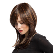 MagiDeal Beauty Women's Synthetic Hair Natural Straight Wig Mix Colour Cosplay Full Head Wigs
