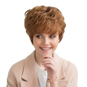 MagiDeal Beauty Real Human Hair Short Curly Wavy Wigs Swept Bangs Fringe Full Head Wigs for Women