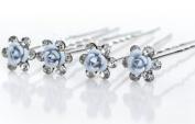 Wedding Hair Accessories 1 Set of 4 Pins Bun Holder Pale Blue Flower Design With Crystals