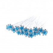 ECYC® 20PCS Bridal Wedding Crystal Diamante Rose Flower Hair Pin Clip Hair Accessories,Blue
