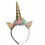 CHUANGLI Children Unicorn Horn Headband Elastic Hairband Party Hair Accessories Cosplay Costume