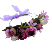 CHUANGLI Handmade Floral Crown Party Wedding Hair Wreaths Hair Bands Flower Headband with Adjustable Ribbon