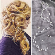 Aukmla Wedding Hair Vine Long Silvery Wedding Headband with Beads for Bride and Bridesmaids - 70cm