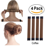 Super Simple Hair Bun Maker Set - 4pcs Women Girls Kids Easy Hair Styling Accessories Magic DIY Twist Donut Bun Makers Tool Blonde Snap Bun Shaper Ponytail Holder Perfect for School Work Daily Life Yoga Dancing Running Wedding Birthday Party, Duty-Heav ..
