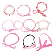 CHUANGLI Pink Hair Bands Ponytail Holders Korean Style Elastic Hair Ties Bowknot Hair Circle Hair Rope Hairband Set with Yarn Bag Packing