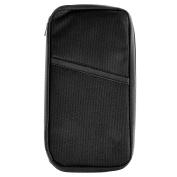 Secure Travel Wallet Purse Document Holder Zipped Passport Tickets ID Organiser Bag 12 Internal Pockets 23x12cm-Black