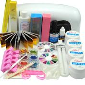 9W Dryer Lamp Tube UV Gel Kit Brush Buffer Guides Toe Seperator Glitter Powder Liquid Tools Nail Tips Glue DIY Kit