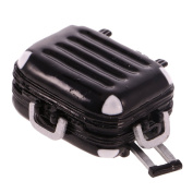 MagiDeal Iron Travel Luggage Box Suitcase for 1:12 Dolls House Miniature ACCS Black